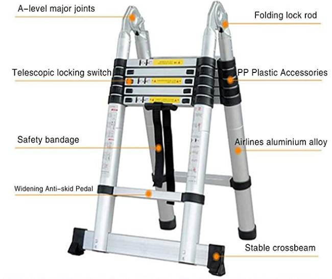 16 Steps Aluminium Telescopic Ladder