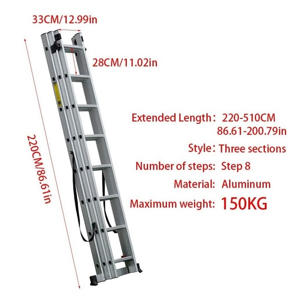 2.2m-5.1m Aluminum Extension Ladder