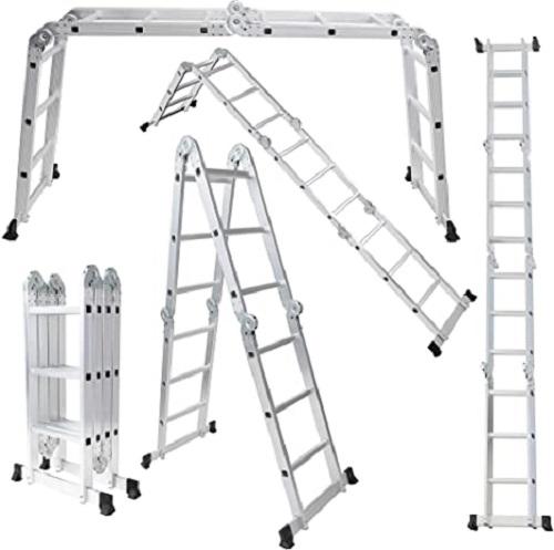 Multi purpose lightweight aluminum folding ladder